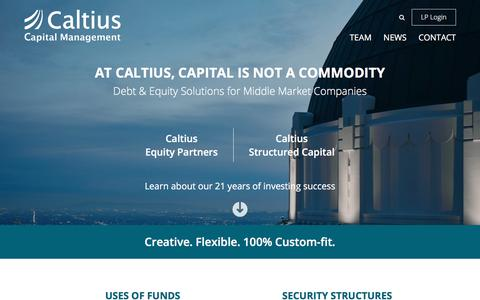 Screenshot of Home Page caltius.com - Caltius Capital Management - Caltius - captured Sept. 26, 2018