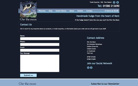 Screenshot of Contact Page oer-the-moon.co.uk - O'er The Moon Confectionery Contact - captured Oct. 27, 2014