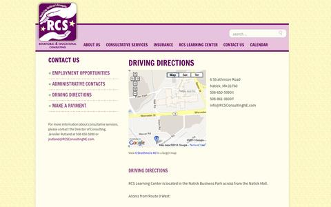 Screenshot of Contact Page rcsconsultingne.com - Driving Directions | RCS Consulting - captured Nov. 5, 2014