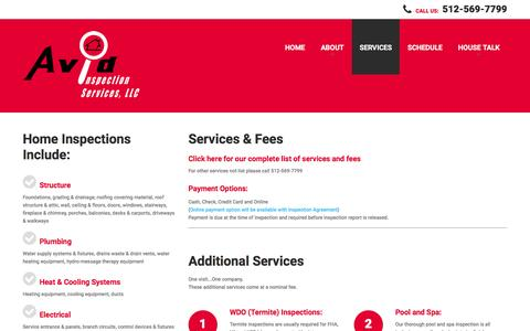 Screenshot of Services Page avidtx.com - Services | Avid Inspection Services LLC - captured Feb. 6, 2016
