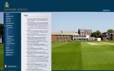 Screenshot of FAQ Page emanuel.org.uk - FAQs - Emanuel School - captured Oct. 2, 2014