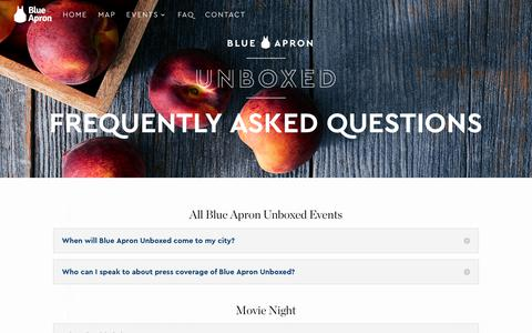 Screenshot of Contact Page FAQ Page blueapronunboxed.com - FAQ - Blue Apron Unboxed - captured July 12, 2018