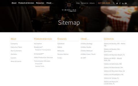 Screenshot of Site Map Page videolinktv.com - Sitemap - VideoLink - captured Oct. 20, 2017