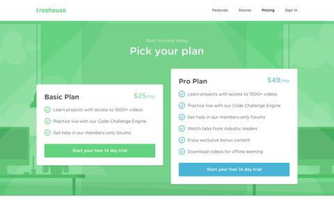 Screenshot of Trial Page teamtreehouse.com - Plans & Sign Up | Treehouse - captured Nov. 5, 2015