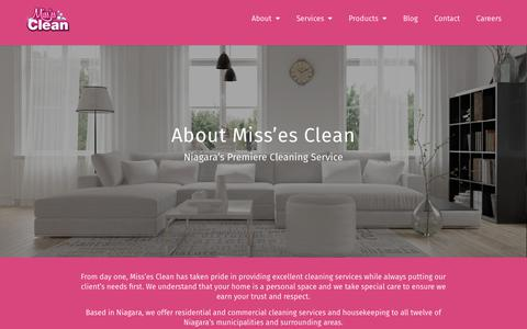 Screenshot of About Page missesclean.ca - About - Missclean - captured Sept. 20, 2018