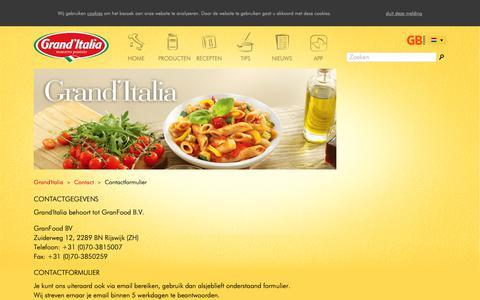 Screenshot of Contact Page granditalia.nl - Contactformulier - Grand'Italia - captured Sept. 30, 2018