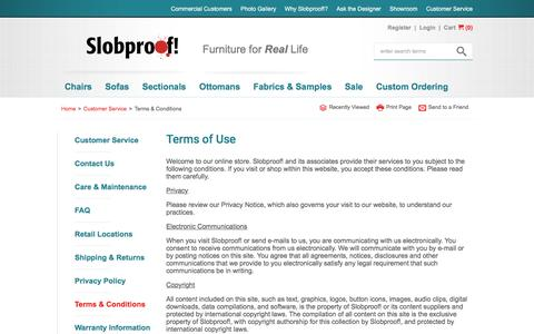Screenshot of Terms Page slobproof.com - Terms of Use - Customer Service | Slobproof! - captured Feb. 25, 2016