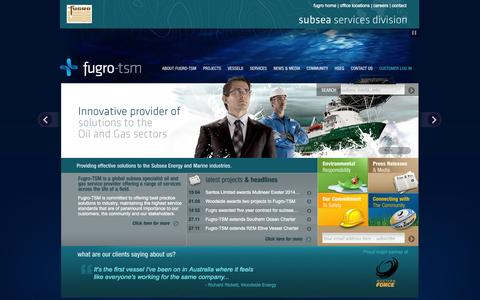 Screenshot of Home Page fugrotsm.com - Fugro-TSM - Providing effective solutions to the Subsea Energy and Marine Industries - captured Sept. 30, 2014
