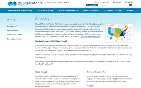 Screenshot of About Page mma-ne.com - About Us - Marsh & McLennan Agency - captured Sept. 29, 2018