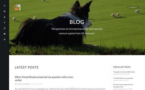 Screenshot of Blog k9ventures.com - Blog - K9 Ventures - captured Sept. 19, 2014