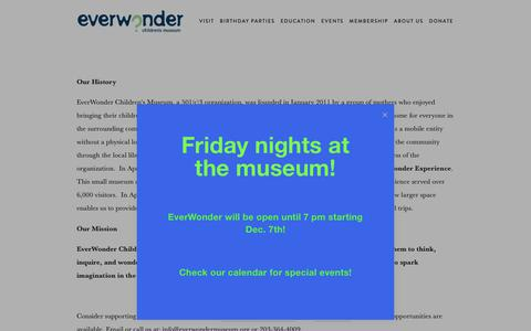 Screenshot of About Page everwondermuseum.org - Our History & Mission — EverWonder Children's Museum - captured Dec. 15, 2018