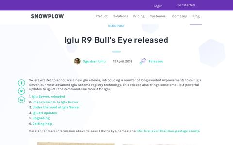 Screenshot of Blog snowplowanalytics.com - Iglu R9 Bull's Eye released - captured Feb. 10, 2020
