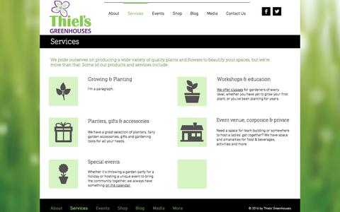 Screenshot of Services Page thielsgreenhouse.ca - thiels | Services - captured Dec. 2, 2016