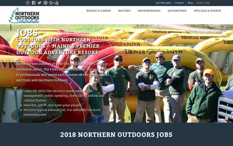 Screenshot of Jobs Page northernoutdoors.com - Maine Guide Jobs, Outdoor & Adventure Resort Jobs - captured July 13, 2018
