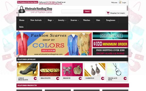 Screenshot of Home Page wholesalehandbagshop.com - Wholesaler of  Handbags, Bags, Purses - Wholesale Handbags Shop - captured Sept. 19, 2014