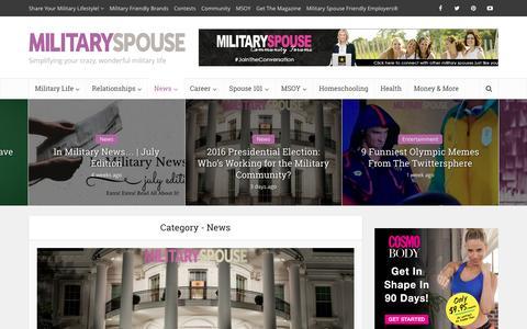 Screenshot of Press Page militaryspouse.com - News | Military Spouse - captured Aug. 29, 2016