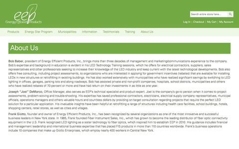 Screenshot of About Page eepsales.com - Energy Efficient Products - captured Nov. 2, 2014