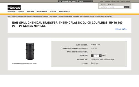 Non-Spill Chemical Transfer, Thermoplastic Quick Couplings, up to 100 psi - PF Series Nipples | Parker NA