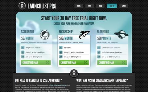 Screenshot of Signup Page launchlist.net - Launchlist Pro - The ultimate website checklist application. - captured Nov. 2, 2014