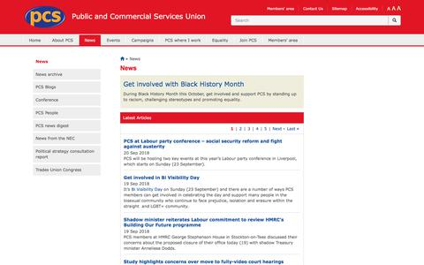 Screenshot of Press Page pcs.org.uk - News | Public and Commercial Services Union - captured Sept. 23, 2018