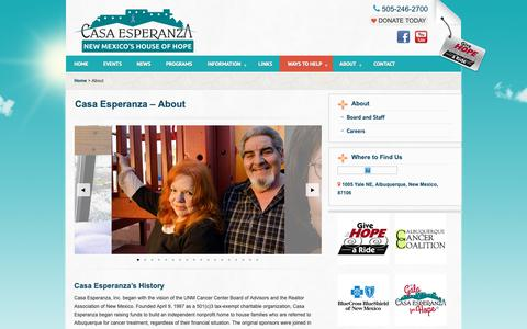Screenshot of About Page casanm.org - About «  Casa Esperanza – House of Hope – Albuquerque New Mexico - captured Sept. 27, 2018