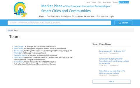 Screenshot of Team Page eu-smartcities.eu - Team | EIP - Smart Cities and Communities Market Place - captured July 31, 2017