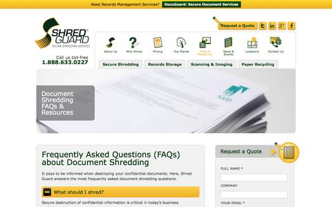 Screenshot of FAQ Page shredguard.com - FAQs about Document Shredding by Shred Guard - captured Aug. 13, 2016