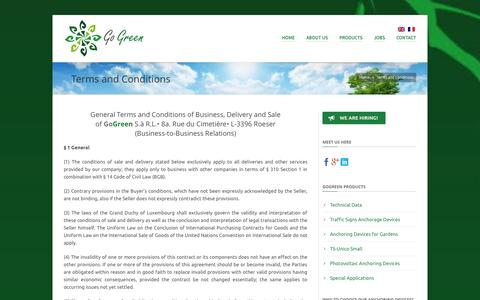 Screenshot of Terms Page gogreen.lu - General Terms and Conditions of Business, Delivery and Sale - captured Oct. 2, 2014