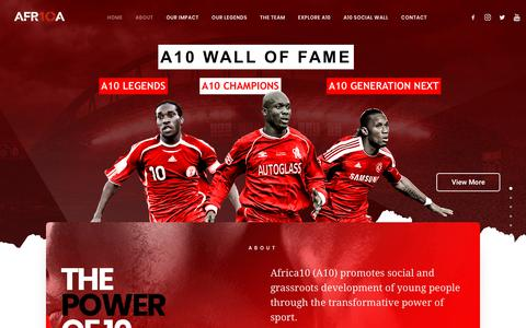 Screenshot of Home Page africa10.com - Africa10 - The Power Of 10 Creating a global A10 generation of champions - captured Nov. 6, 2018