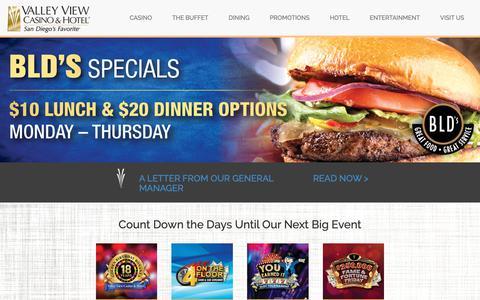 Screenshot of Home Page valleyviewcasino.com - San Diego's Favorite Casino | Valley View Casino & Hotel - captured April 17, 2019