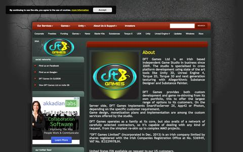 Screenshot of About Page dftgames.com - About | DFT Games - captured Sept. 30, 2014