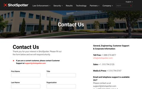 Screenshot of Contact Page shotspotter.com - Contact Information for ShotSpotter Gunfire Detection and Alert Service - captured Nov. 23, 2019