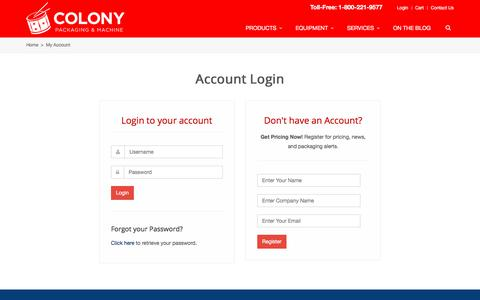 Screenshot of Login Page colonypackaging.com - E-Commerce Login | Colony Packaging and Machine - captured Aug. 13, 2017