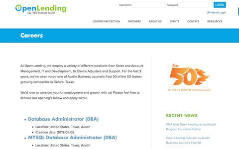 Screenshot of Jobs Page openlending.com - Careers – Open Lending - captured June 20, 2018