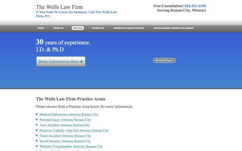 Screenshot of Services Page robertwellslaw.com - The Wells Law Firm Practice Areas | Lawyer Kansas City, Missouri - captured April 9, 2017