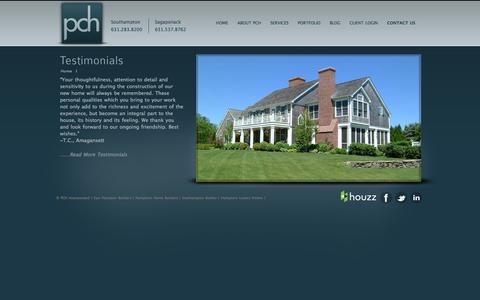 Screenshot of Testimonials Page pchinc.com - PCH Inc.- Builders and Property Management   PCH Inc.- Builders and Property Management - captured Sept. 26, 2014