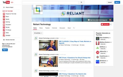 Screenshot of YouTube Page youtube.com - Reliant Technology  - YouTube - captured Oct. 29, 2014