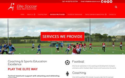 Screenshot of Services Page elite-soccer.co.uk - Services – Elite Soccer - captured Nov. 10, 2018