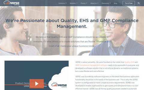 Screenshot of About Page versesolutions.com - Quality, EHS and GMP Compliance Management Systems and Software from VERSE Solutions - captured April 1, 2016