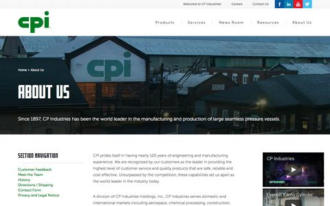Screenshot of About Page cp-industries.com - CP Industries : About Us - captured Sept. 25, 2018