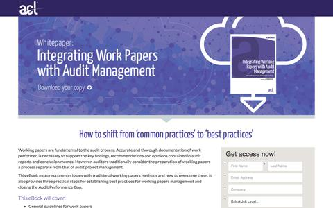 Screenshot of Landing Page acl.com - eBook: eIntegrating Working Papers with Audit Management - captured Dec. 17, 2016