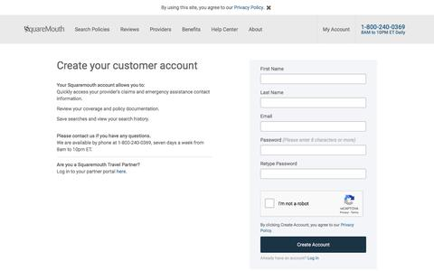 Screenshot of Signup Page squaremouth.com - Travel Insurance - Compare Every Major Company - Squaremouth - captured Sept. 19, 2018