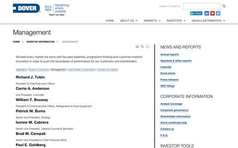 Screenshot of Team Page dovercorporation.com - Management | Dover Corporation - captured Sept. 19, 2018