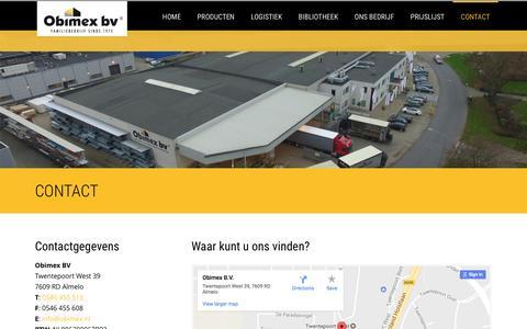 Screenshot of Contact Page obimex.nl - Contactgegevens en bereikbaarheid | Obimex - captured Dec. 19, 2016