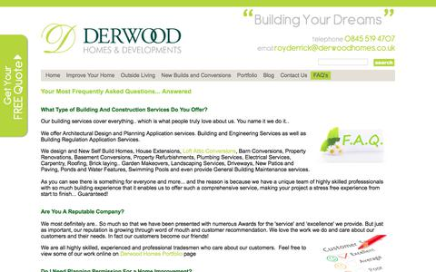 Screenshot of FAQ Page derwoodhomes.co.uk - FAQ's - Advice and Guidance from a Reputable South Wales Builder - captured Oct. 12, 2017