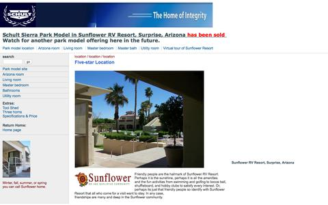 Screenshot of Home Page About Page Privacy Page Site Map Page sunflowerparkmodel.com - Schult Sierra Park Model, Sunflower Resort - captured July 9, 2018