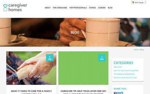 Screenshot of Blog caregiverhomes.com - Caregiving Blog   Caregiver Homes - captured May 9, 2017