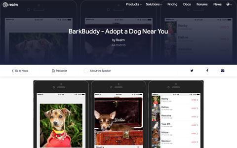Screenshot of Press Page realm.io - BarkBuddy - Adopt a Dog Near You - captured July 11, 2017