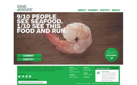Screenshot of Home Page dineaware.com - Dine Aware  Dine Confident | Dine Aware - captured Oct. 5, 2014