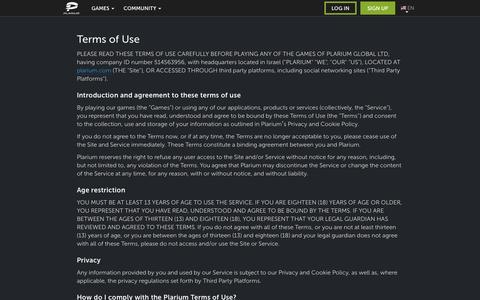 Screenshot of Terms Page plarium.com - Terms of Use | Plarium.com - captured Nov. 23, 2016